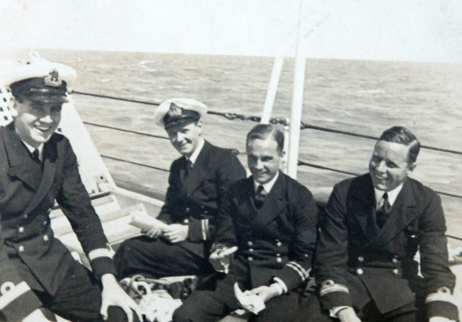 Four young officers on HMS HOOD