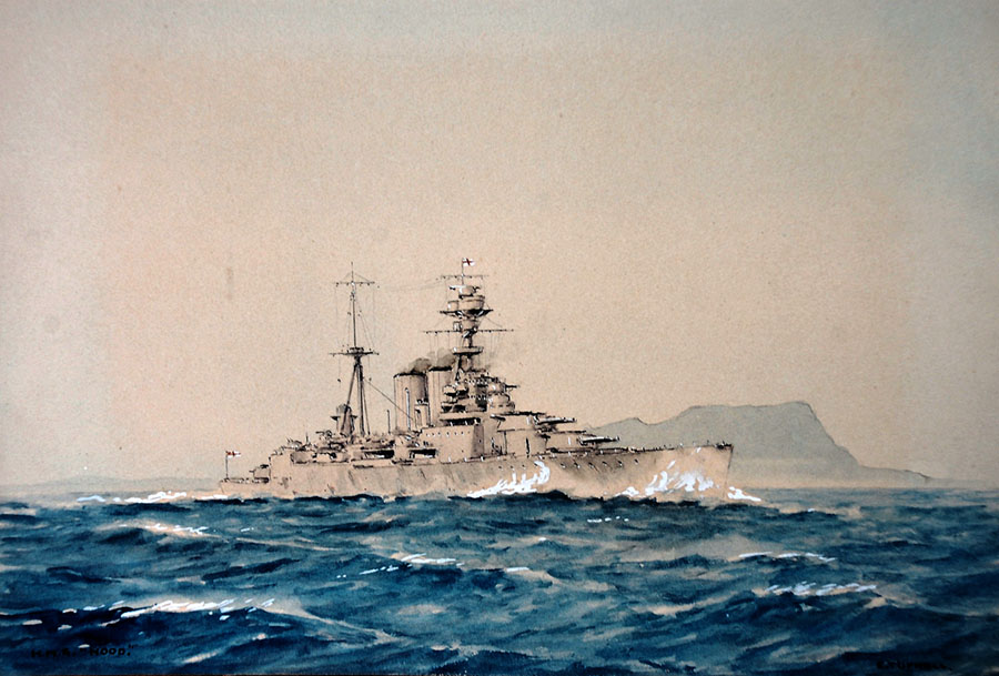 HMS Hood painted by ERic Tufnell