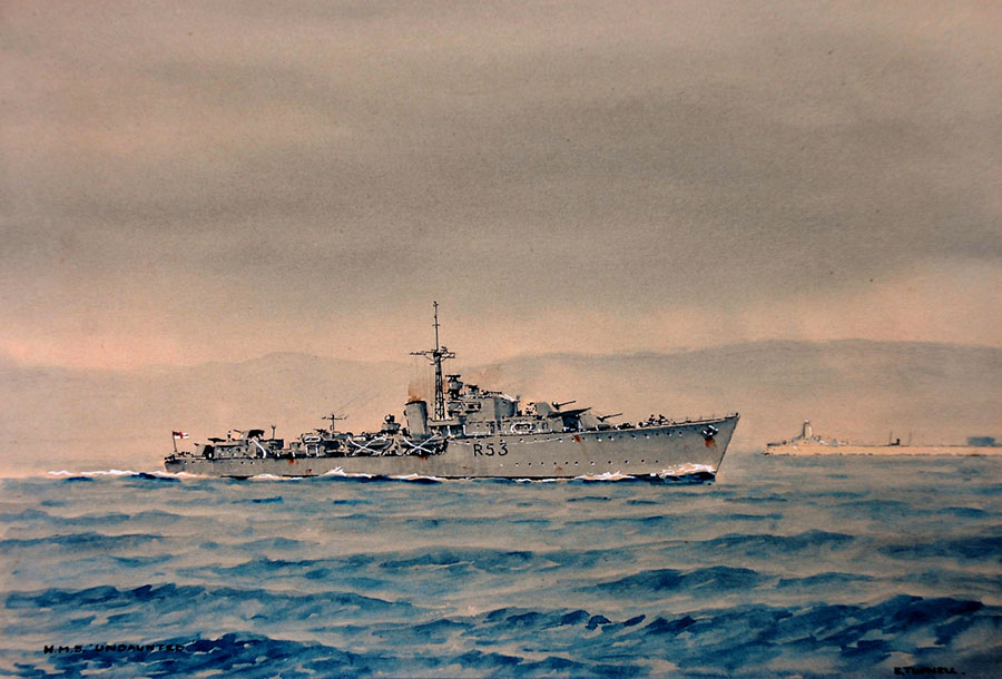 HMS Undaunted painted by Eric Tufnell