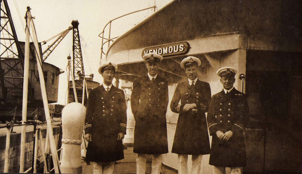 The Wardroom officersf HMS Venomous on deck at Chtham, 1926
