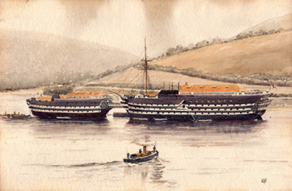 HMS Britannia and HMS Hindustan on the Dart painted by Eric Tufnell while a Cadet in the RN at Dartmouth
