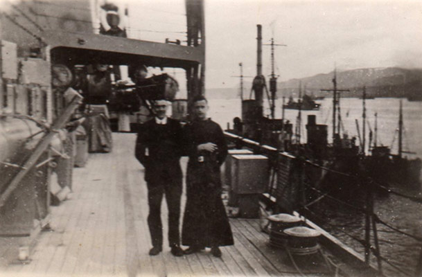 Harry Cliffe and Priest on HMS Hecla, Iceland