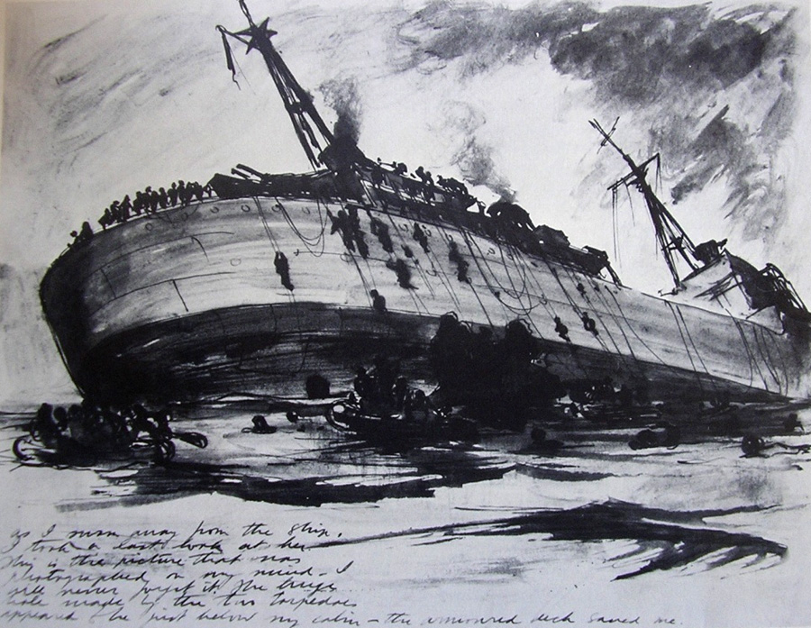 Herbert McWilliams sketch of HMS Hecla
