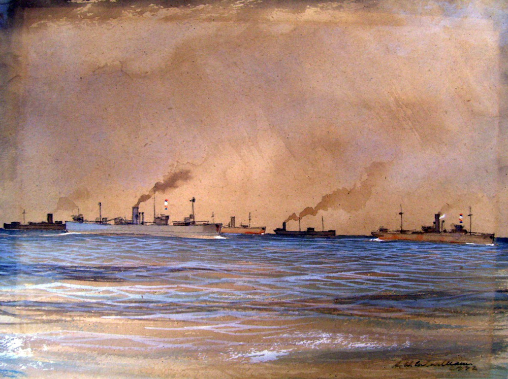 Slow Convoy, mid Atlantic 1942; painted by South African war artist Herbert McWilliams