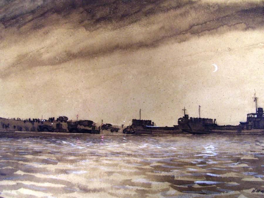 Building a 'hard' at Piombino; painted by Herbert H McWilliams