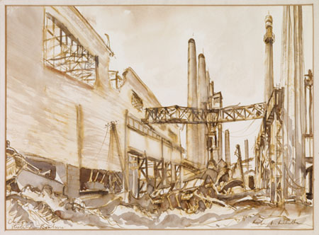 Bombed stell works at Piombino; painting by Herbert H McWilliams