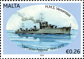 Operation Pedestal 70th Anniversary stamps from Malta Podst