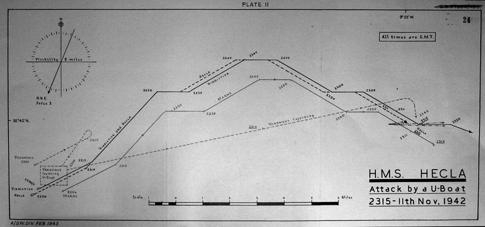 Chart sowing position of ships on 11 November 1942 when attack took place