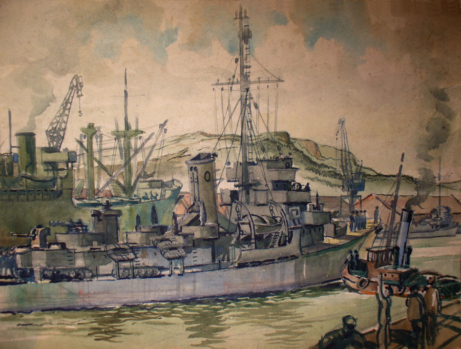 Captain Class frigate painted by Rober Back, 1944