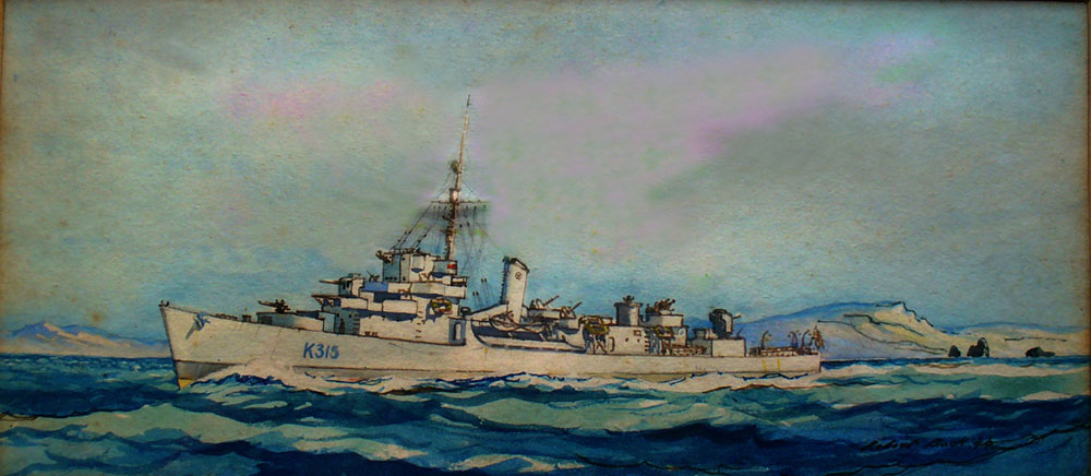 HMS Byard painted by R.T. Back, Gunner