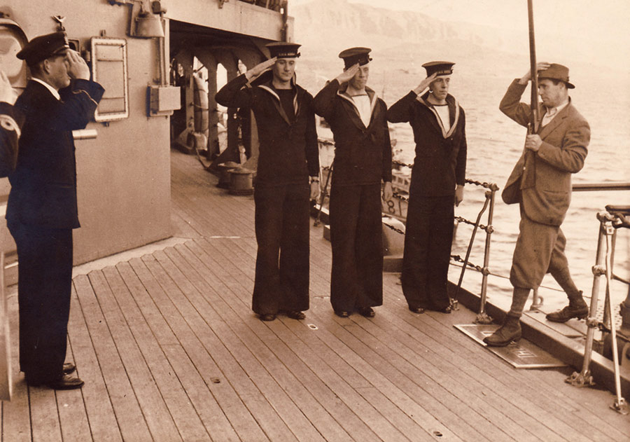 Capt Coltart saluted aboard HMS Hecla by the SBA