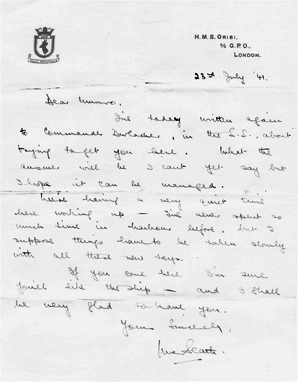 Letter from McBeath to Munro